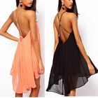 Sexy Womens Backless Chiffon Back Strapless Party Evening Clubwear Mini Dress WQ