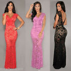 New Women Sleeveless Lace V-Neck Bodycon Evening Party Slim Fit Maxi Long Dress