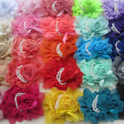 Lot DIY fashion baby girls Chiffon rose flower with pearl for Hair Accessories