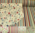 Funky Stars & Ticking Stripe 100% Cotton Curtain Upholstery Quilting Fabric