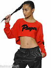 Adidas Originals Womens Red Cropped Player Sweatshirt Oversize Top UK8 EU34 US4
