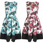 NEW LADIES ROSE FLORAL DRESS PRINT WOMENS CONTRAST HEM FLARED SKATER BOXY SKIRT