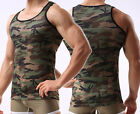Mens Camo Camouflage Muscle GYM Sport Underwear Sleeveless T-Shirt Tank Top Vest image
