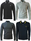FRED PERRY T-Shirt Men's L/S Twin Tipped Polo Pique Navy,Black & Charcoal L - XL