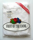 FRUIT OF LOOM T-Shirt Men's Plain with Logo Crew Neck White Size: Large