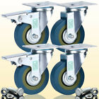 4 x Heavy Duty 75mm Rubber Swivel Castor Wheel Trolley Caster 360KG Free Fitting