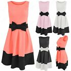 NEW WOMEN LADIES BLACK BOW FRONT SKATER SHIFT DRESS CONTRAST HEM BOX PLEAT SKIRT