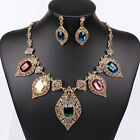 Vintage Royal Leaf Crystal Charm Choker Pendant Bib Earrings Necklace Set Collar