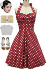 50s Inspired RAISIN RED with White POLKA DOTS Pinup Betty HALTER TOP Sun Dress