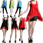 VOGUE SLEEVELESS ASYMMETRICAL T-SHIRT STRETCHY LONG VEST TANK TOPS PARTY DRESS