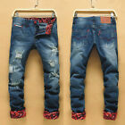 Scratched Straight Jeans Fashion Mens Jean pants Skinny Trousers Spring KOREAN