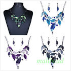 Fashion Women Jewelry Crystal Chunky Statement Bib Pendant Leaves Chain Necklace