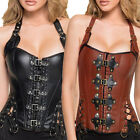 Ladies Sexy Black Brown Goth Steampunk Buckle Faux Leather Corset Top