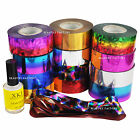 DIY Nail Art Transfer Foil Galaxy Paper Tip Decor Star Sky Design Star Glue Set
