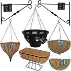 Garden Flowers Planter Hanging Basket Chain Metal Bracket Coco Liner Plant Patio