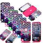 Sky Chevron Waves High Impact Armor Case Hybrid Cover For iPod Touch 5 5th Gen
