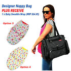 Stunning Black Baby Nappy Diaper Bag PLUS free Swaddle Wrap