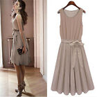Fashion Womens Clothing Pleated Chiffon Bow Sleeveless Skirt Vest Casual Dress