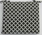 OUTDOOR CHAIR CUSHION - BLACK AND WHITE HOCKLEY GEOMETRIC PRINT - CHOOSE SIZE