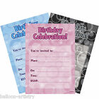 16 Boys Girls Pink Blue Black Happy Birthday Party Glitz Invitations Envelopes