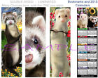 FERRET 2015 CALENDAR or BOOKMARK Brown/ White ART Perfect CARD Book Mark-Not Toy