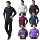 Muscle Fashion Mens Clothes Casual Slim Fit Stylish Dress Shirts Long Sleeve