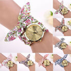 Women Girl Floral Jacquard Cloth Quartz Dial Bracelet Wristwatch Watch image