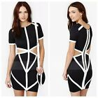 Womens Trendy Concise Hollow Out Evening Party Cocktail Club Bandage Mini Dress
