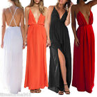 Sexy Women V Neck Backless Strap Party Cocktail Evening Maxi Long Prom Dress