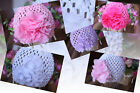Handmade Baby Beanie Crochet Flower Hat Photo Prop Newborn to 2 Years Pink White
