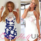 UK Womens Celeb Sexy Backless Floral Lace Summer Beach Bodycon Mini Party Dress