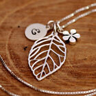Personalised 925 Sterling Silver Open Leaf +Flower Pendant Necklace +Initial Tag