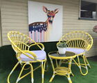 NEW RETRO RATTAN CHAIR OUTDOOR SETTING MODERN ROUND TABLE FURNITURE VINTAGE