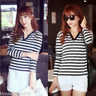 Faahion Womens Ladies Casual V Neck Slim Tops Stripe Long Sleeve T-Shirt Blouse