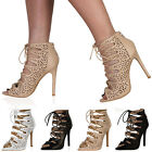 LADIES CRISS CROSS LACE UP WOMENS CUT OUT DESIGN STILETTO HEEL SHOES SIZE 3-8