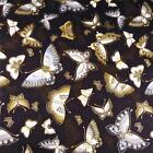 Metallic Gold & Silver Gray Butterflies on Dk Brown by Kaufman, Cotton Fabric