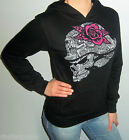 New METAL MULISHA Black GLITTER SKULL Hooded Sweatshirt HOODIE Choose S M L XL