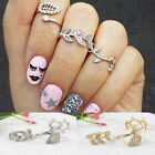 3pcs Chic Women's Alloy Gold/Silver Rhinestone Leaf Above Knuckle Finger Rings