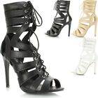 Ladies Womens Cut Out Lace Up High Heel Strappy Gladiator Sandals Shoe Calf Boot