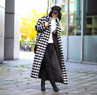 H&M Trend Wool Blend Long Houndstooth Monochrome Checked Coat New UK12 EU38 US8