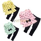 2Pcs Baby Girls Kids Bowknot Heart Top Shirt Dress + Pants Set Outfit Clothes
