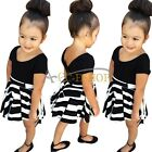 Baby Toddler Girls Kids Top T-shirt + Stripe Tutu Skirt Dress Summer Clothes Set