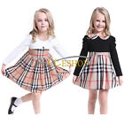 Toddler Girl Classic Plaids Checks Long Sleeve Outfit Spring Collared Dress 3T-7