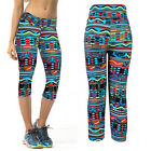 Womens High Waist Fitness YOGA Sports Pants Printed Stretch Cropped Leggings