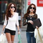 Womens Ladies Floral Lace Crew Neck Slim Tops Casual Blouse Long Sleeve T Shirt