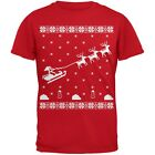 Flying Santa Sleigh Ugly Christmas Sweater Red Youth T-Shirt