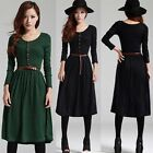 Sweetheart Women Vintage Long Sleeve Round Neck Long Dress Skirt Belt Modern