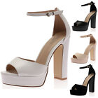 LADIES BLOCK HEEL WOMENS OPEN TOE SUMMER ANKLE STRAP PLATFORM SHOES SIZE 3-8