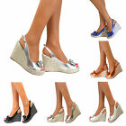Ladies Platform Bow Wedge High Heels Slingback Strappy Peep Toe Sandals Shoes