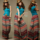 Tribal Style Multicolor Totem Elastic Waist Womens Loose Wide-leg Pants Trousers